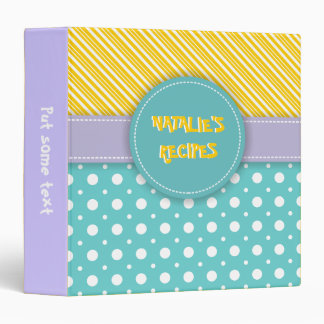 Modern aqua, yellow, lavender polka dot & stripes 3 ring binder