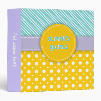 Modern aqua, yellow, lavender polka dot & stripes binder