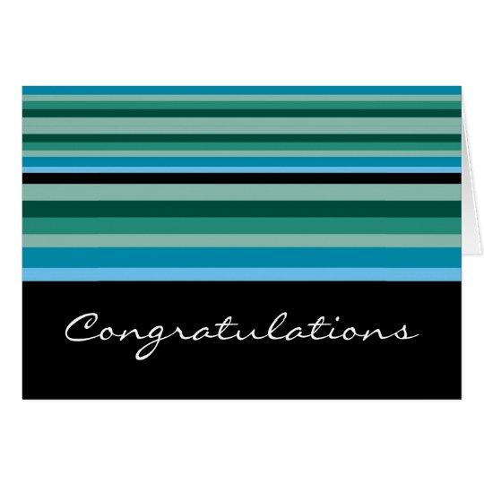 Modern Aquagreen Stripes Congratulations Card