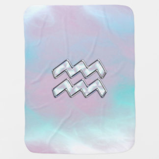 Modern Aquarius Sign on Mother of Pearl Style Swaddle Blanket