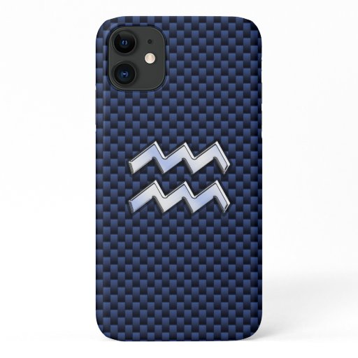 Modern Aquarius Sign on navy blue carbon fiber iPhone 11 Case