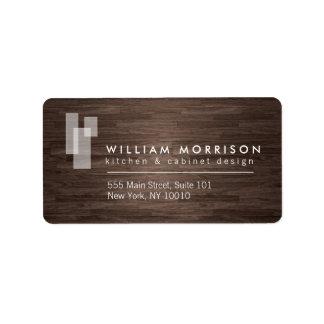 Modern Architectural Logo on Dark Woodgrain Label