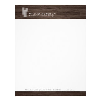 Modern Architectural Logo on Dark Woodgrain Letterhead