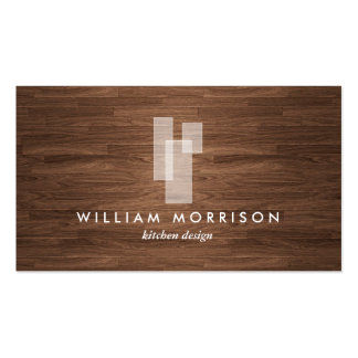 Modern Architectural Logo on Woodgrain Business Card Template