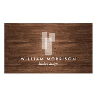Modern Architectural Logo on Woodgrain Business Card