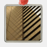 Modern architecture, yellow toned square metal christmas ornament