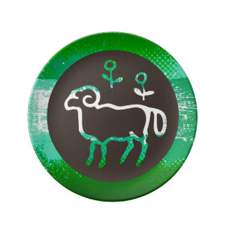 Modern Aries Design Porcelain Plate Green & Black