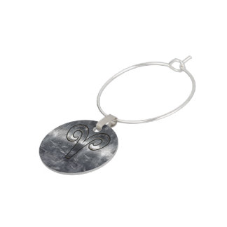 Modern Aries Zodiac Sign Grunge Distressed Style Wine Glass Charms