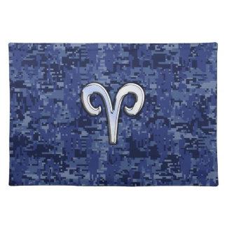Modern Aries Zodiac Symbol Navy Blue Digital Camo Cloth Placemat