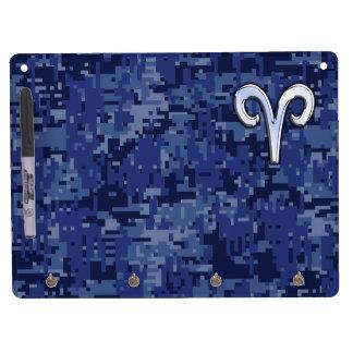 Modern Aries Zodiac Symbol Navy Blue Digital Camo Dry Erase Board With Keychain Holder