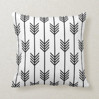 Modern Arrow Fletching Pattern Black and White Throw Pillow