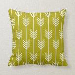 Modern Arrow Fletching Pattern Chartreuse Green Pillow