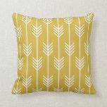 Modern Arrow Fletching Pattern Mustard Yellow Pillows