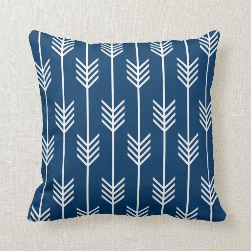 Small Navy Decorative Pillow : Modern Arrow Fletching Pattern Navy Blue Throw Pillow Zazzle
