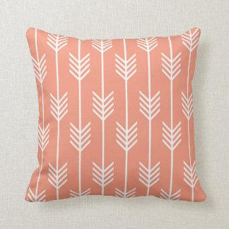 Modern Arrow Fletching Pattern Peach Throw Pillow