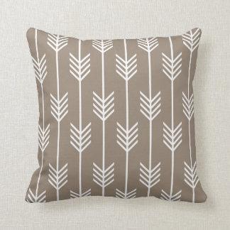 Modern Arrow Fletching Pattern Taupe Throw Pillow