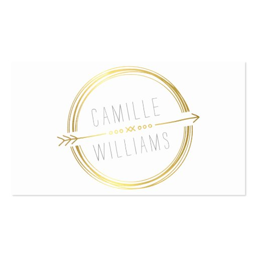 MODERN ARROW LOGO gold foil rustic hand drawn Business Cards