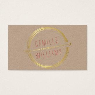 MODERN ARROW LOGO gold foil rustic hand drawn Business Card