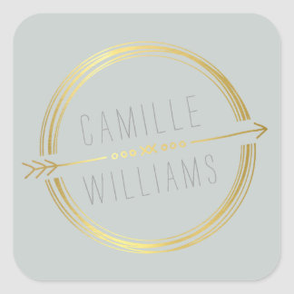 MODERN ARROW LOGO gold foil rustic hand drawn grey Square Sticker