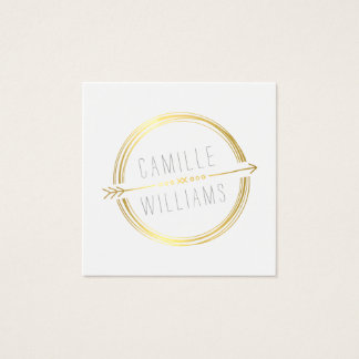 MODERN ARROW LOGO gold foil rustic hand drawn Square Business Card