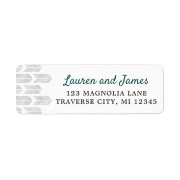 Wedding Themed Modern Arrows Chevron Simple Grey Teal Address Label