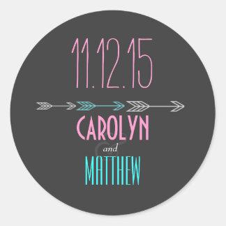 Modern Arrows | Pink | Aqua Wedding Sticker