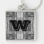 Modern art abstract in gray monogram W Silver-Colored Square Keychain