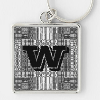 Modern art abstract in gray monogram W Keychain