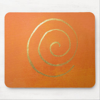 Modern Art Abstract Orange And Gold Painting Mouse Pad