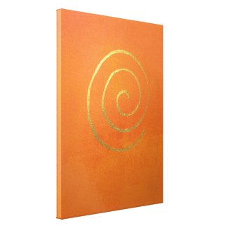 Modern Art Abstract Painting Bright Orange Gold Gallery Wrapped Canvas