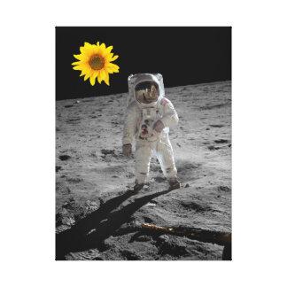 Modern Art Astronaut with flower by Billy Bernie Canvas Print