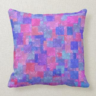 Modern Art Blue Purple Red Square Rectangle Pillow