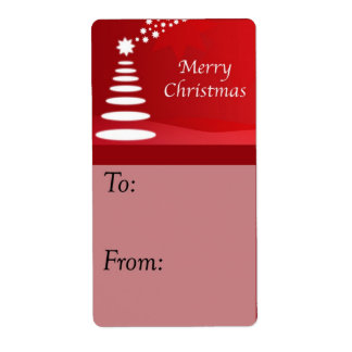 Modern Art Christmas Tree on Red Gift Tag Shipping Label