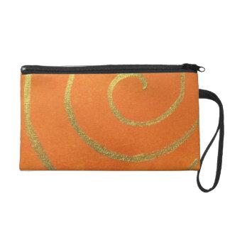 Modern Art Color Fields Orange Gold Elegant Design Wristlet