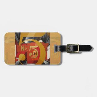 Modern Art Cubist Demuth Figure 5 in Gold Bag Tag