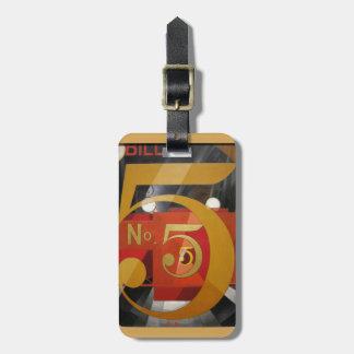 Modern Art Cubist Demuth Figure 5 in Gold Luggage Tag