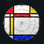 "Modern Art Dartboard With Darts<br><div class=""desc"">Colour block pattern inspired by Mondrian.</div>"