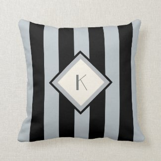 Modern Art Deco Black and Silver Stripes Monogram Throw Pillow