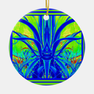 Modern ART DECO Blue Agave Leaves by Sharles Ceramic Ornament