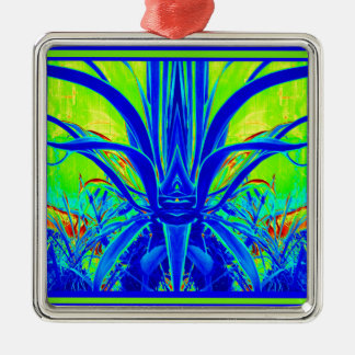Modern ART DECO Blue Agave Leaves by Sharles Metal Ornament