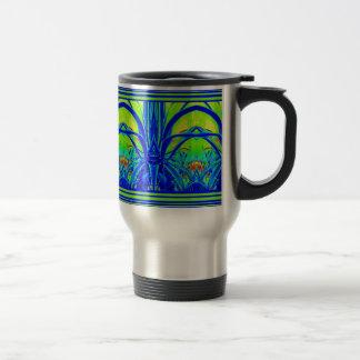 Modern ART DECO Blue Agave Leaves by Sharles Travel Mug
