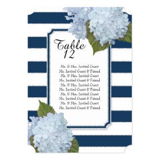 Modern Art Deco Blue Hydrangeas Table Seating List Card