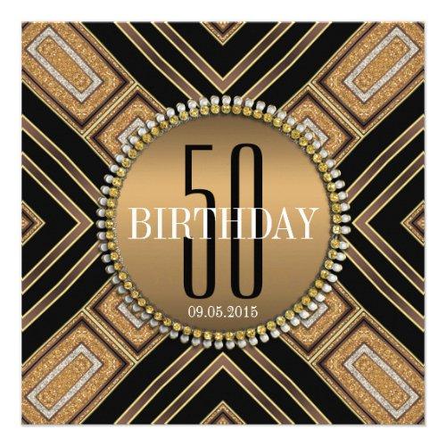 Modern Art Deco Gold 50th Birthday Invitation