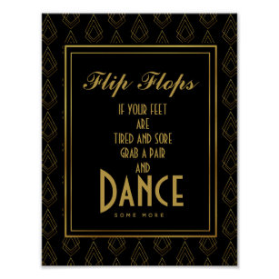 3dc2baff01b9 Modern art deco Gold   Black flip flops Poster