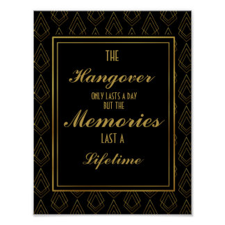 Modern art deco Gold & Black hangover party Poster