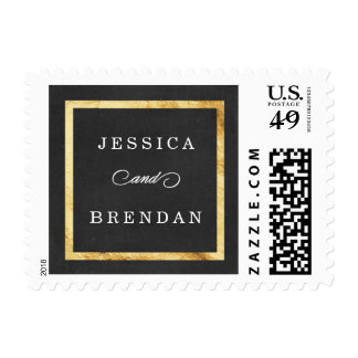 Modern Art Deco Gold & Black Personalized Wedding Postage