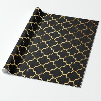 Modern Art Deco Golden Black Geometric Vip Wrapping Paper