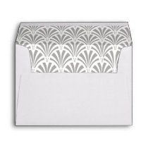 Modern Art Deco | Gray and White Wedding Envelope