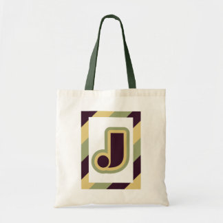 Modern art deco letter J with striped border Canvas Bag