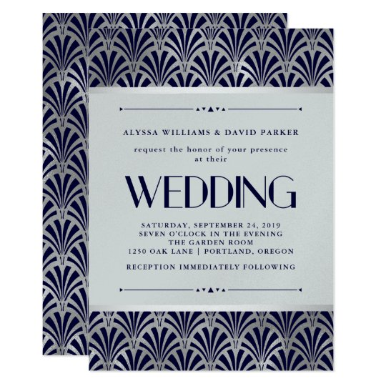 Modern Art Deco Navy And Faux Silver Wedding Invitation